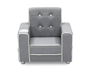 Delta Children Chelsea Kids Upholstered Chair with Cup Holder   Gray  RETAIl  100 00