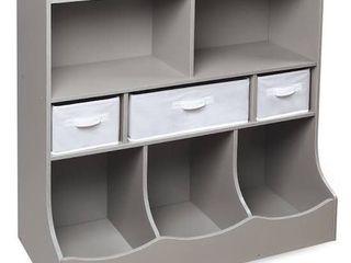 Badger Basket Combo Bin Storage Unit w  3 Baskets   Woodgrain Gray  RETAIl  120 99