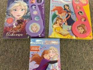 Disney Princess 3 Book lot  2 Push Button Song Books   Frozen 2 Coloring and Activity Pad  RETAIl  13 99 14 99 5   33 98