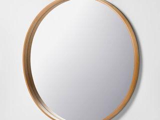 30  large Round Wall Mirror   Hearth   Handa with Magnolia   light Woodgrain Finish  RETAIl  59 99