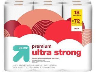 Up   Up Premium Ultra Strong Toilet Paper 18 Mega Rolls   72 Regular Rolls