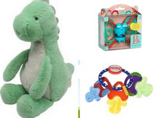 Baby Toys lOT  B  Toys Glowy Chews Firefly Frank   Nuby IcyBitea Keys Teether   Carter s Dinosaur Waggy Musical Plush Toy  RETAIl  9 99 4 99 22 00   36 98