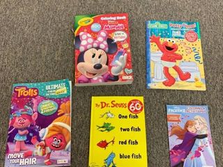 large 5 Book lot  4 Coloring   Activity Books  Minnie Mouse  Trolls  Potty Time w  Elmo   stickers  Frozen 2   One Fish  Two Fish  Red Fish  Blue Fish