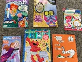 large 6 Book lot  3 Coloring   Activity Books  Trolls  Frozen 2  Potty Time w  Elmo  2 Imagine Ink Books w  Markers   Green Eggs and Ham