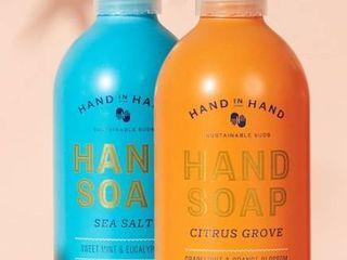 lOT OF 3 Hand in Hand Hand Soap    2  Sea Salt    1  Citrus Grove  RETAIl  14 97
