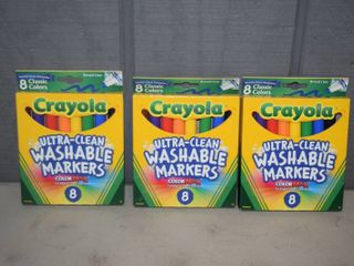 3 Boxes 8 Count Washable Crayola Markers
