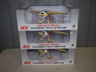 3 Diecast Metal lockheed Vega Airplanes