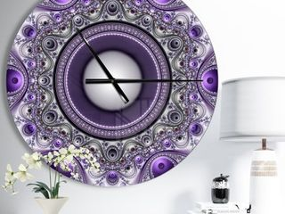 Designart  Purple Fractal Pattern with Circles  Oversized Modern Wall Clock