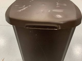 Brown trash can