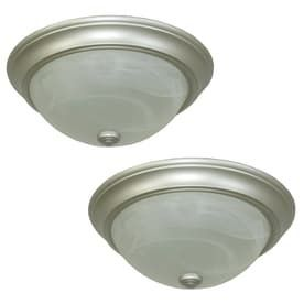 Project Source 13 in W Satin Nickel Ceiling Flush Mount lights 2 Pack  one glass lens is broken