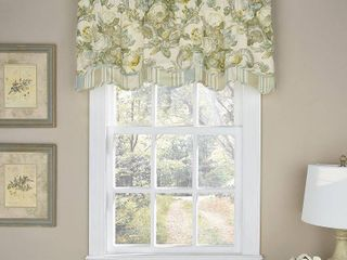 Waverly 52  x 18  Spring Bling Window Pieced Scalloped Valance in Platinum
