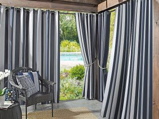 Sun Zero Valencia Cabana Stripe Indoor Outdoor Single Curtain Panel