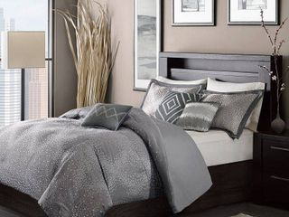 Queen  Madison Park Crawford Grey Jacquard 7 piece Comforter Set Retail 110 92