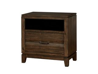 Furniture of America Transitional Solid Wood Night Stand With Tapered legs  Walnut Brown