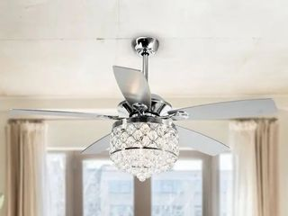 Missing 2 crystals  Chrome 4 light Chandelier Crystal 5 Blade Ceiling Fan with Remote Retail 176 49