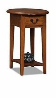 leick Furniture 9042 MED Oval End Table Medium Oak