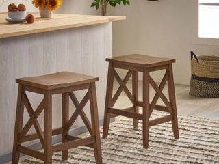 Set of 2  Hefley contemporary farmhouse wooden bar stools