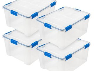 3 lids have corner damage  60 Qt  WEATHERTIGHT Storage Box in Clear  4 Pack