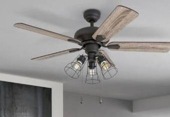 The Gray Barn Rugaard Industrial 42 inch Aged Bronze lED Ceiling Fan in Cage Industrial 3 light Retail 104 99