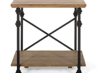 Morell Modern Industrial End Table by Christopher Knight Home   23 60  W x 22 00  D x 23 00  H   Antique Brown Black