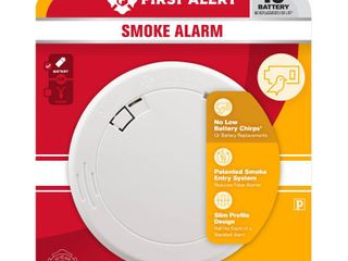 First Alert   Slim Photoelectric Smoke Alarm with 10 Year Battery   White