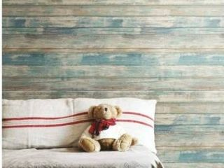 RoomMates Distressed Wood Peel And Stick Wallpaper Blue