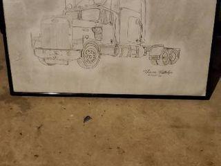 Hand Drawn Semi Truck
