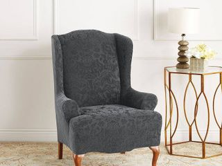 SlIPCOVER  Stretch Jacquard Damask Wing Chair Slipcover Gray   Sure Fit