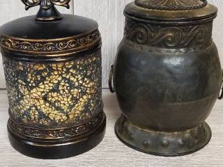 Pair of Metal Decor Cannisters