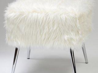 Cortesi Home Olivia White Faux Fur Ottoman  20in