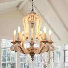 Antique 5 light Wooden Candle Chandelier  Distressed White Retail 316 49