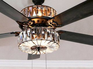 Silver Orchid March Caged Crystal Ceiling Fan Retail 205 53