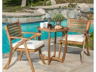 Christopher Knight Home Coronado Outdoor 3 piece Acacia Wood Bistro Set with Cushions
