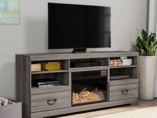 Grey Carbon loft Edsberg Electric Fireplace TV Console with Adjustable Heat and light   Retail 598 49