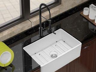 Farmhouse Kitchen Sink Apron Front Single Bowl Ceramic Fireclay  Retail 444 99