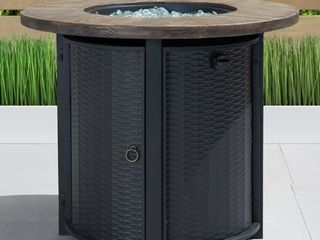 Black logan 30x30 Round Fire Table in Black by Sego lily  Retail 309 99