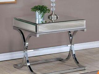 Furniture Of America Sundance Chrome Tone Metal End Table Curved X Shape Frame