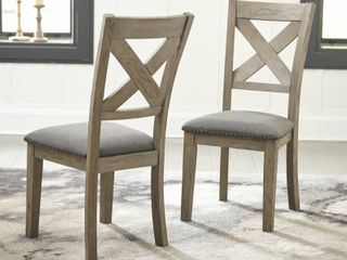 Furniture of America Side Chair Grey wood with Grey Fabric