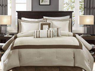 Taupe Brown Queen Madison Park Abigail 7 piece Comforter Set  Retail 104 98