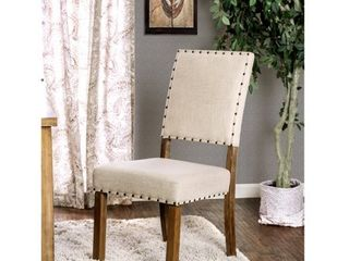 Furniture of America Rick Industrial Ivory Dining Chairs  Set of 2  Retail 205 99