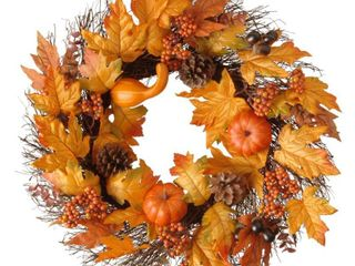 Maple leaf and Pumpkin Wreath