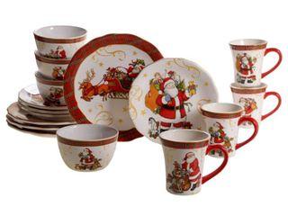 Certified International Vintage Santa 16 piece Dinnerware Set  Retail 129 99