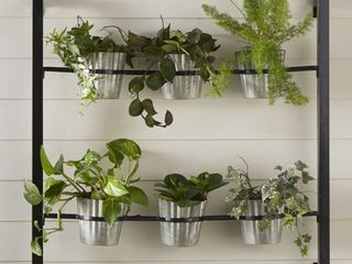 Groves 6 Pot Black Kate and laurel Groves Indoor Herb Garden Metal Hanging Wall Planter