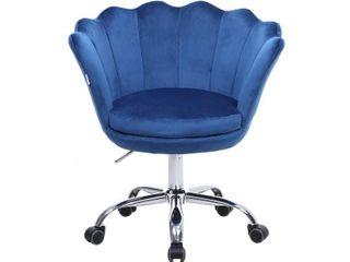 Blue Modern Adjustable Upholstered Velvet Task Chair