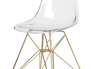 Single Clear Dining Height Molded Plastic DSR Style Clear Side Chair With Gold legs Retail  202 49