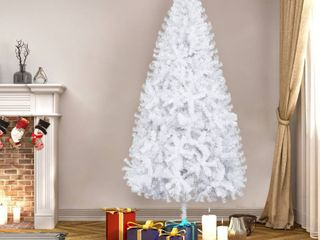 White 7FT Artificial White Christmas Tree with 950 Branches  amp  Stand