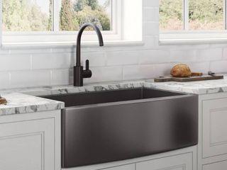 Ruvati 36 inch Apron Front Farmhouse Kitchen Sink Gunmetal Black Matte Stainless Steel Single Bowl Retail  514 49