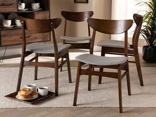 Set of 4 Parlin Dining Chair light Gray Walnut   Baxton Studio