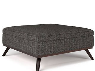 Simpli Home Owen Square Mid Century Modern Woven Fabric Faux Air leather Ottoman With Inner Storage   Ebony