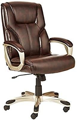 AmazonBasics High Back  leather Executive  Swivel  Adjustable Office Desk Chair with Casters  Brown